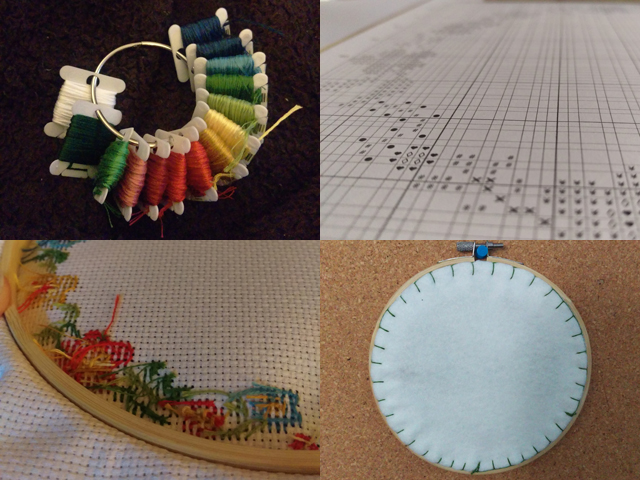 Collage showing a ring holding bobbins of embroidery floss, a close-up of a cross stitch chart, a close-up of the loose threads on the back of a cross stitch, and the back of a finished hoop covered in felt secured with blanket stitch